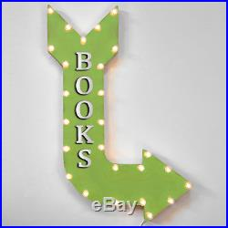 36 BOOKS Curved Arrow Sign Light Up Metal Marquee Vintage Book Read Store