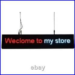 39x7.6 Programmable LED Sign for Store P5 Rainbow Scrolling Texts WiFi Upload