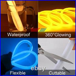 50ft 360° Round Yellow LED Neon Rope Lights Tubes for Store Building Signs Decor