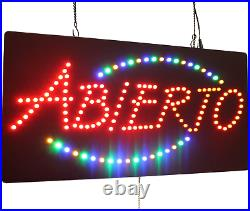 Abierto Sign, TOPKING Signage, LED Neon Open, Store, Window, Shop, Business