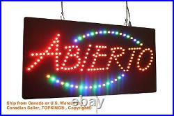 Abierto Sign, TOPKING Signage, LED Neon Open, Store, Window, Shop, Business, Display