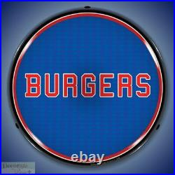 BURGERS Sign 14 LED Light Store Business Advertise Made USA Lifetime Warranty