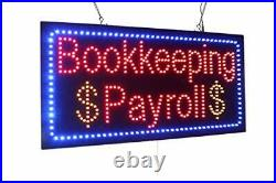 Bookkeeping Payroll Sign, Signage, LED Neon Open, Store, Window, Shop