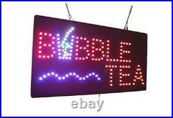 Bubble Tea Sign, Signage, LED Neon Open, Store, Window, Shop, Business