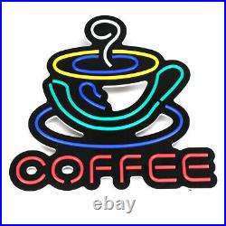 COFFEE LED Neon Sign Light Hanging Store Visual Artwork Lamp Wall Party U