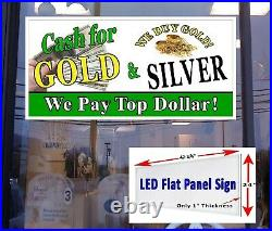 Cash for Gold & Silver Led window store sign 48x24 illuminated Storefront sign