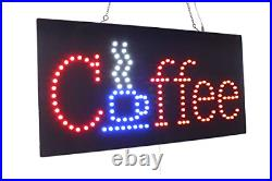 Coffee Sign, TOPKING Signage, LED Neon Open, Store, Window, Shop, Business, Gift
