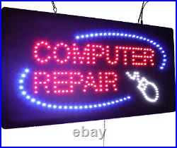Computer Repair Sign, TOPKING Signage, LED Neon Open, Store, Window, Shop, Grand