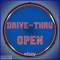 DRIVE-THRU OPEN Sign 14 LED Light Store Business Advertise Made USA Warranty