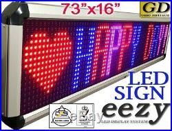 Eezy LED Sign RBP Indoor Outdoor Window Remote Programmable Banner Store 73x16