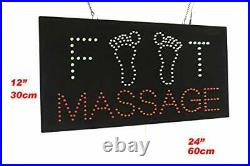 Foot Massage Sign TOPKING Signage LED Neon Open Store Window Shop Business Di