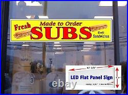 Fresh Subs Made to Order Led window Store sign 48in x 12in Deli Sandwiches