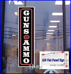 GUNS & AMMO vertical Led window sign 48x12 retail store advertising signs