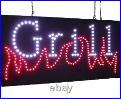 Grill Sign, TOPKING Signage, LED Neon Open, Store, Window, Shop, Business, Grand