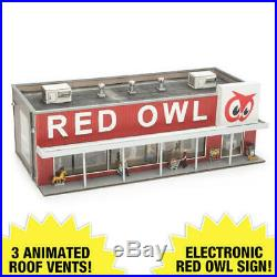 HO Scale Prelit LED Light 7 Figures Electronic Sign Train City Red Owl Store