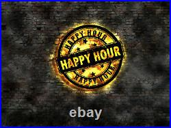 Happy Hour store shop discount Display sign no neon sticker wall deco wooden
