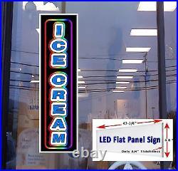 ICE CREAM Led illuminated Window Sign 48x12 LED retail store signs