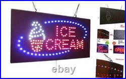 Ice Cream Sign, Signage, LED Neon Open, Store, Window, Shop, Business