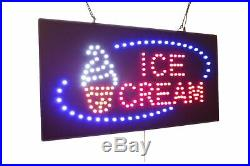 Ice Cream Sign, TOPKING Signage, LED Neon Open, Store, Window, Shop, Business