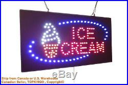 Ice Cream sign Neon Sign LED Open Sign Store Sign Business Sign Window Sign