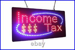 Income Tax Sign, Signage, LED Neon Open, Store, Window, Shop, Business
