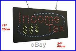 Income Tax Sign TOPKING Signage LED Neon Open Store Window Shop Business Disp