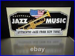 Jazz Music Blue Trumpet Café Bar Record Stores Store Light Led Lightning Sign