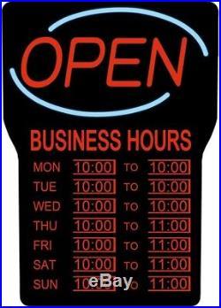 LED Open Store Sign Light Up Lighting Retail Restaurant Bar Business Hours