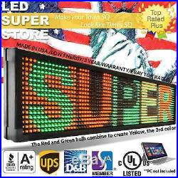 LED SUPER STORE 3COL/RGY/PC 21x98 Programmable Scrolling EMC Display MSG Sign