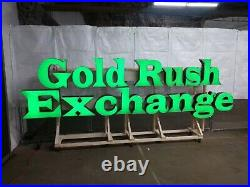 Large Neon Outdoor Sign gold rush exchange pawn shop store front LED cannabis