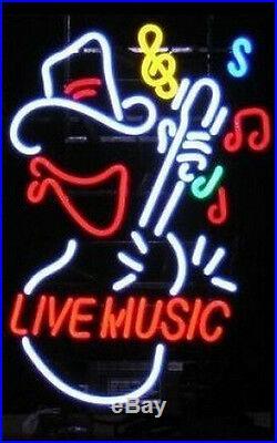 Live Music Neon Sign Light Display Store Rock Bar Pub Real Glass Tube LED17X14