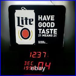MILLER LITE Electronic Legal Age Calendar LED Clock Sign Man Cave Bar Store NEW