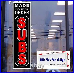 Made Fresh to Order SUBS Led store window sign 48x12 vertical Led sign