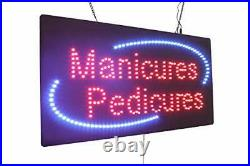 Manicures Pedicures Sign, TOPKING Signage, LED Neon Open, Store, Window, Shop