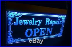 Multi-colors Jewelry Repair Open LED Signs Animated Store Lighting Neon Sign