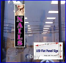 NAILS Led illuminated Business Store Window Sign 48x12 flat panel design