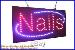 Nails Pedicures Manicures Neon Sign LED Open Sign Store Sign Business Sign