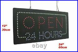 Open 24 Hours Sign, Signage, LED Neon Open, Store, Window, Shop, Business, Disp
