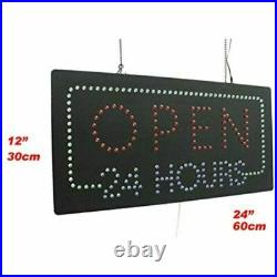 Open 24 Hours Sign, Signage, LED Neon Open, Store, Window, Shop, Business, Grand