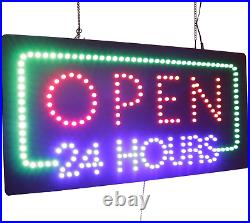 Open 24 Hours Sign, TOPKING Signage, LED Neon Open, Store, Window, Shop, Grand