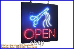 Open Haircut Barber Salon Beauty Hairdresser led neon window store business sign