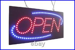 Open Sign 24 with Blue Oval, TOPKING Signage, LED Neon Open, Store, Window