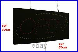 Open Sign 24 with Tri-Color Oval TOPKING Signage LED Neon Open Store Window