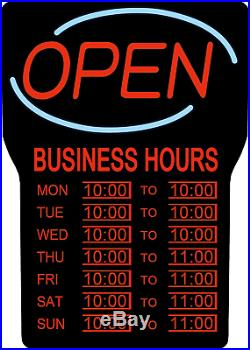 Open Sign Led Business Hours For Store Bright Light Display 100 Feet Away