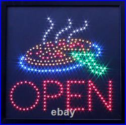 Open Steam Food LED Sign Super Bright High Quality LED Pizza Store Sign