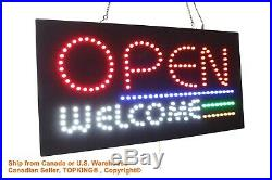 Open Welcome Sign Neon Sign LED Open Sign Store Sign Business Sign Window Sign