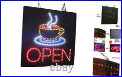 Open with a Coffee Mug Sign, TOPKING Signage, LED Neon Open, Store, Window, Shop