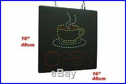 Open with a Coffee Mug Sign TOPKING Signage LED Neon Open Store Window Shop B