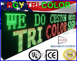 Outdoor 25 x 63 Led Sign Red Green Yellow Scrolling Programmable Store Signs