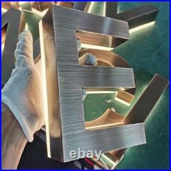 Outdoor Store Backlit Stainless Steel 3D Letter Custom LED Sign Company Logo
